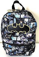 "Batman 16"" Backpack Book Bag School Travel Comic Black Multi NWT"