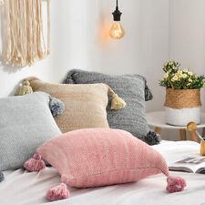 "18"" Pillowcase Cotton Pom Throw Sofa Waist Cushion Pillow case Cover Home Decor"
