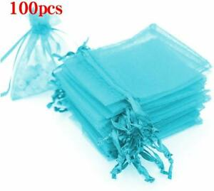 100pcs Aqua Blue ORGANZA FAVOR BAGS Wedding Party Gift bags 100pcs