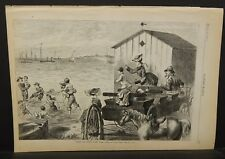 Harper's Weekly 1 Pg Giving the Chicks a Dip Engraving  1873 B15#52