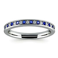 0.78 Ct Sapphire Gemstone Ring Solid 14K White Gold Diamond Rings Size M, N, L