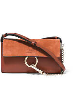 Brand New Chloe FAYE MINI LEATHER AND SUEDE SHOULDER BAG TOBACCO