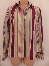 Pink size 12 beige shirt with multi-coloured vertical stripes, long sleeves