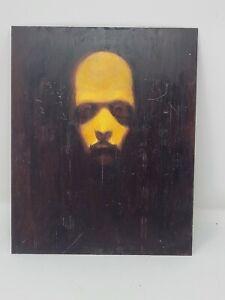 "Original art contemporary Oil on Metal Man's Face Stuart Kimbrell 8""x10"" Deviant"