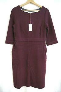 NEW Ladies Womens White Stuff 3/4 SLEEVE TEXTURED WEAVE DRESS Size 10 BURGUNDY