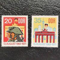 Alemania Oriental año 1971 10 Aniversario del Muro de Berlin  Nº 1381 y 1382