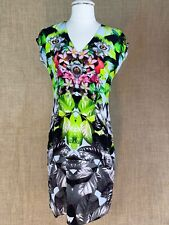 MARC CAIN Tropical Print V-Neck Stretch Dress Size 1