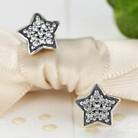 Authentic 925 Sterling Silver Shining Star Stud Earrings with AAA Clear CZ