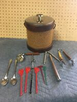 MCM Vintage Wicker Ice Bucket With Accesorys Bar Tools Lot Bundle