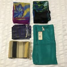 5 Scarves Oblong Vera Silk Yellow Pink Teal Butterfly Flower Vtg Scarf Lot Nwt