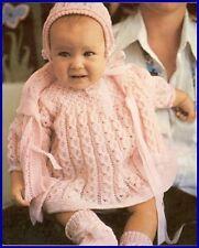 Baby knitting pattern classic Rosebud design in 3 ply