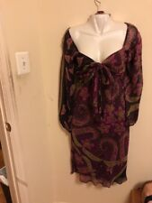 New Betsey Johnson Silk Midi Floral Paisley Dress Sweetheart w Self-Tie Bow Sz 8