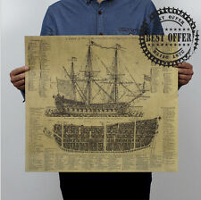 Paper Poster Old World Map War Ship Vintage Retro Structur Coffee Shop Wall Deco