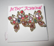 BETSEY JOHNSON PINK BLING BUTTERFLY STUD EARRINGS