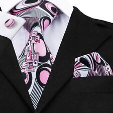 USA Classic Blue Pink Black Red Printing Mens Tie Silk Necktie Set Wedding F&S