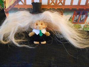 Vintage Troll Doll-Unmarked-SCANDIA? DAM? Orange Spiral Eyes-Replaced Hair-SWEET