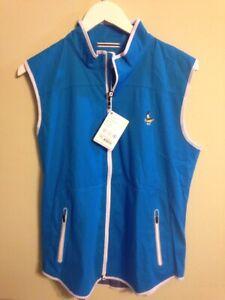 NWT Footjoy Golf Women's Large Softshell Vest Electric Blue 24972 w club logo