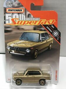 2019 Matchbox 50th Anniversary Superfast #3/6 Gold '69 BMW 2002 1:64 NOC