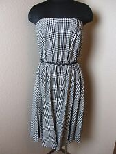 Moschino Cheap and Chic Wool Blend Dress Strapless Check Black White Size 8 US