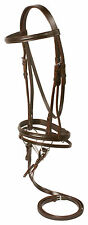 BROWN ALL PURPOSE FLASH DRESSAGE LEATHER ENGLISH HORSE BRIDLE REINS SNAFFLE BIT