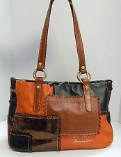 Braccialini Italy Brown Leather Multi Patchwork Shoulder Bag