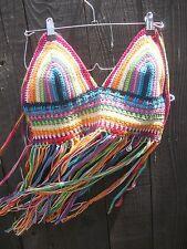 Crochet Rainbow Halter Top - Handmade in the US - Festival Top - Hippie Top