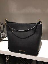 NWT Michael Kors Hayes Large Bucket Shoulder Bag Purse Leather Black Dark Khaki