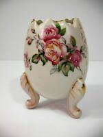 Vintage Fine Porcelain China Pink Hand Painted Flower Footed Candle Holder