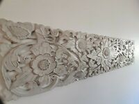 WHITEWASH SUNFLOWER WOOD CARVED WALL ART PLAQUE HOME DECOR