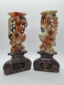 Pair of Chinese Luohan Buddha Frog Finely Carved Soapstone Figures Antique