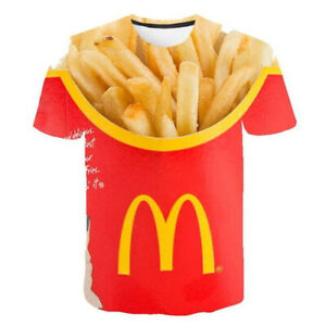 MC DONALDS  T-Shirt 3D Print Short Sleeve Tee Tops Burger fries fast food Size L