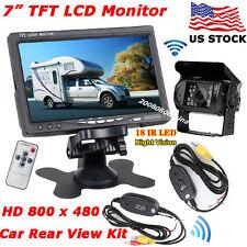 "Wireless IR Waterproof Backup Rear View Camera +7"" Monitor for Bus Truck Trailer"