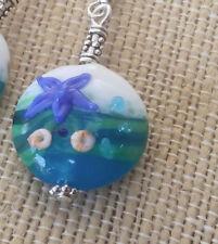 BWT- Lampwork bead Ocean Swirl Necklace Ln464pnd Starfish urchin, Beach
