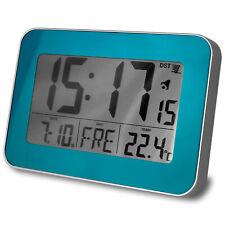 Digital Funkwanduhr Funkuhr Tischuhr Funk Uhr LCD Display Temperatur Datum blau
