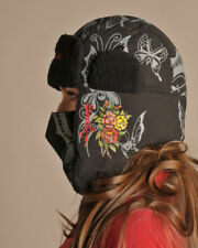 ED HARDY Butterfly & Roses Beanie WITH REMOVABLE MASK