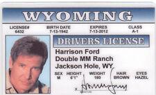 Harrison Ford Han Solo of Star Wars Indiana Jones  Drivers License Jackson Hole