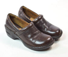 BORN Concept Brown Leather Slip On Clogs Shoes Occupational Nursing Work  8.5