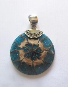 Sterling Silver Pendant -shell- resin glitter- round- blue beige