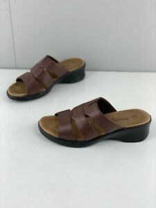 Grosby Womens Brown Leather Wedge Heel Comfort Casual Sandals Slip On Size AU 6