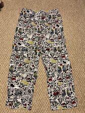 Disney Parks Unisex Pajama Lounge Pants Large Cartoon Mickey Mouse Print White