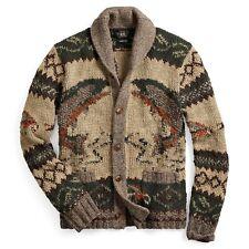 c05784dd8 RRL Ralph Lauren Hand Knit Sportsman Wool Blend Cardigan-MEN- L