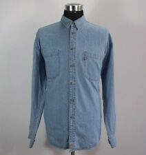 Vintage Men's Levi Strauss & Co Denim Shirt, Size L Large, Cotton, Blue #KM589