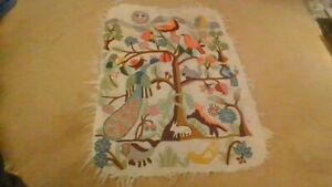 Tree of life wall hanging, hand made, wool, colorful, approx 1.2m x 0.9m.