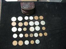 30 Assorted 1960's 1970's British Coins Shilling Pence w/ Leather Pouch