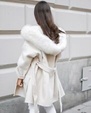 Oversized Wrap Cape Hooded Winter Elegant Woollen Fox Fur Short Coat
