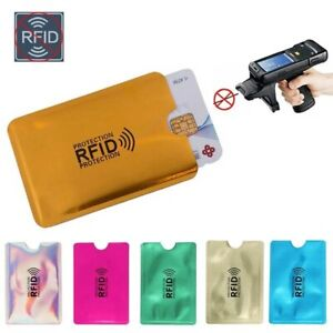 4X RFID Credit Card Sleeve Protector Holder Contactless Wallet Silver Blue Pink