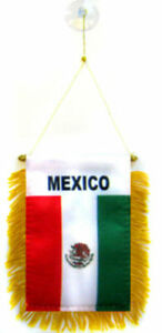 """Mexico Mexican Mini Flag 4""""x6"""" Window Banner w/ suction cup"""