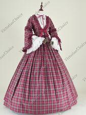 Victorian Civil War Plaid Dress Pioneer Women Gown Halloween Costume N 158 XL