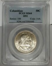 1892 PCGS MS64 COLUMBIAN WORLDS FAIR EXPO Commemorative SILVER Half Dollar