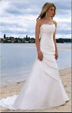 Hot white/ivory A-line Beach wedding dress Bridal Gown Stock Size6-8-10-12-14-16